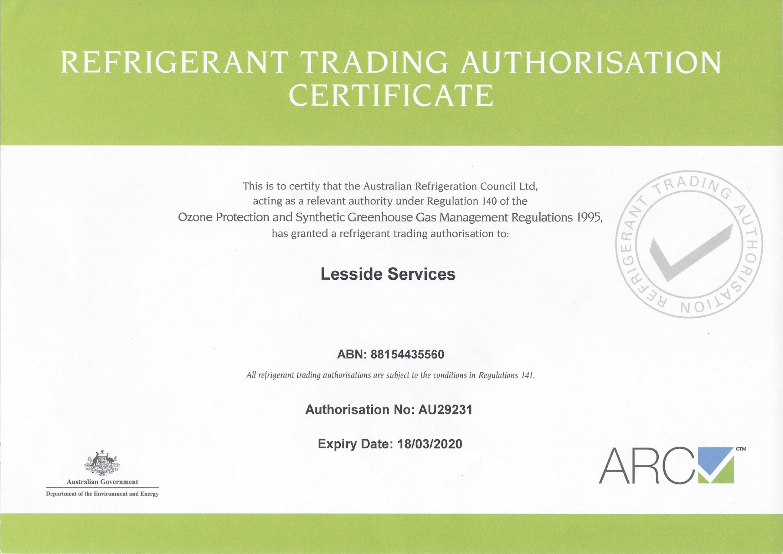 ARCtick Refrigerant Trading Authorisation Certificate 2020