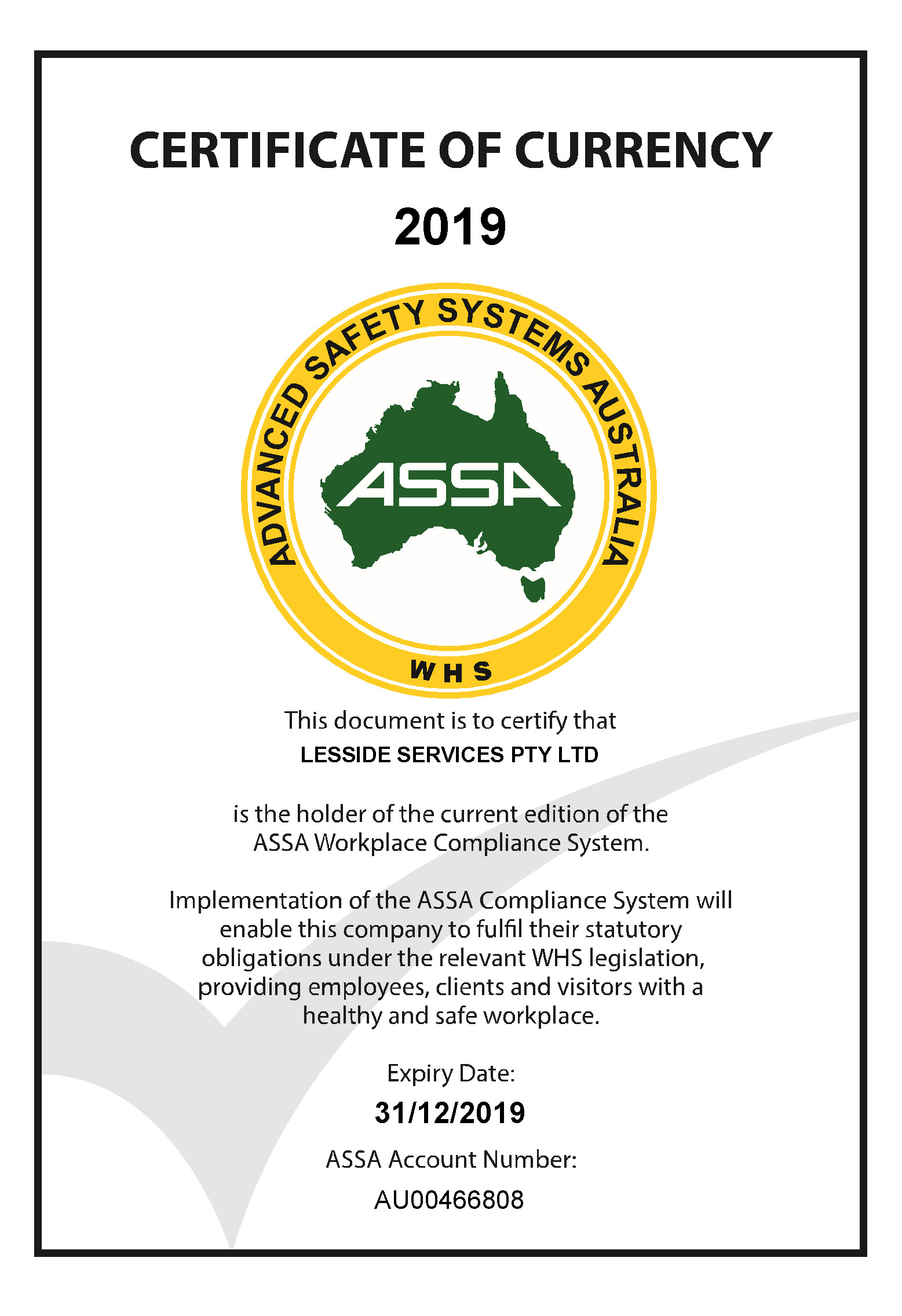 ASSA Certificate of Currency 2019