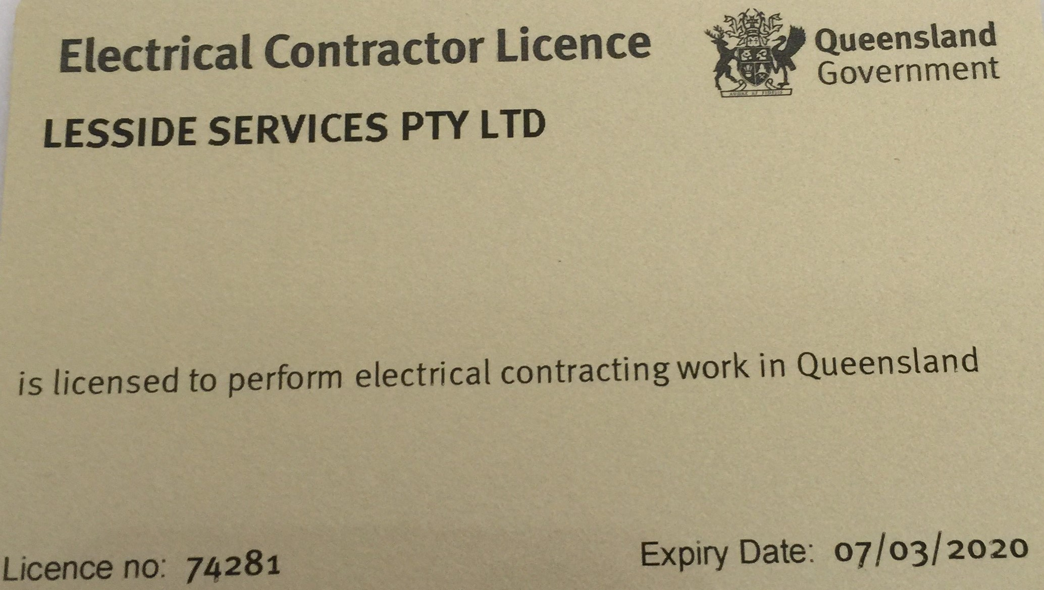 Electrical Contractor Licence 2019-2020